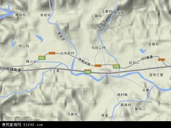 中国浙江省杭州市临安市太阳镇地图(卫星地图)