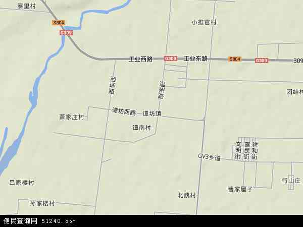 中国山东省潍坊市青州市谭坊镇地图(卫星地图)