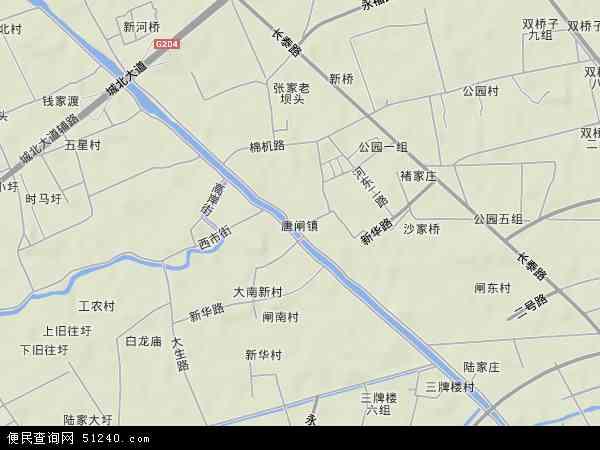 中国江苏省南通市港闸区唐闸镇地图(卫星地图)
