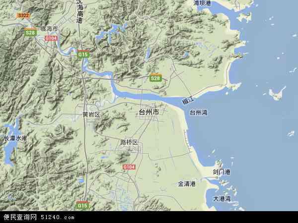 台州市地形地图
