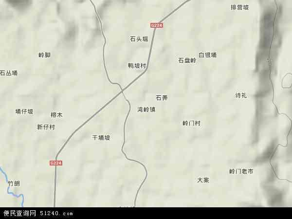 中国海南省省直辖县级行政区划琼中黎族苗族自治县湾岭镇地图(卫星