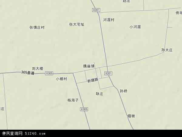 中国江苏省徐州市沛县魏庙镇地图(卫星地图)