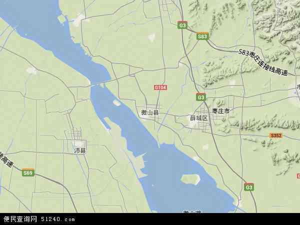 中国山东省济宁市微山县地图(卫星地图)
