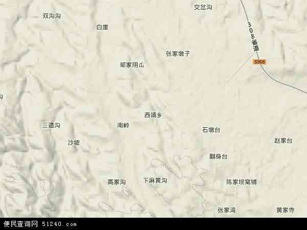 中国甘肃省武威市古浪县西靖乡地图(卫星地图)