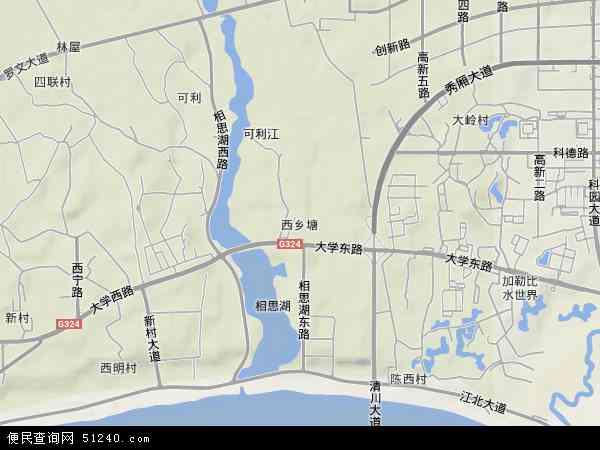 中国广西壮族自治区南宁市西乡塘区西乡塘地图(卫星地图)-南宁市