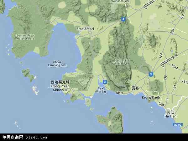 2016西哈努克市卫星地图高清版