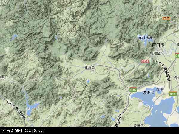中国福建省莆田市仙游县地图(卫星地图)