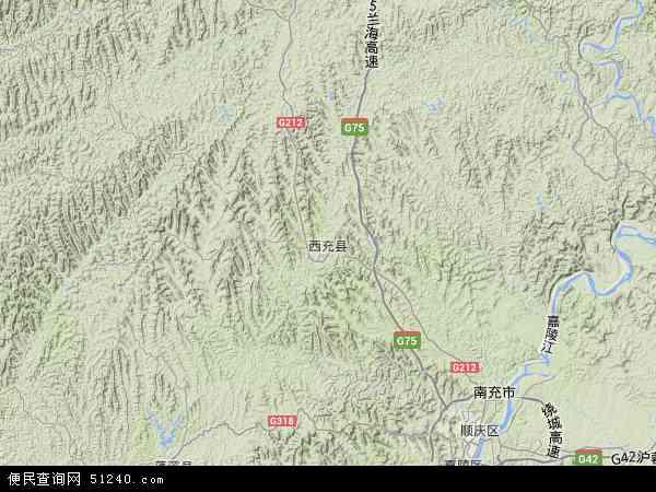 中国四川省南充市西充县地图(卫星地图)