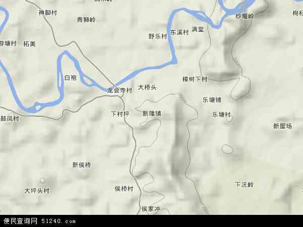 中国湖南省永州市新田县新隆镇地图(卫星地图)