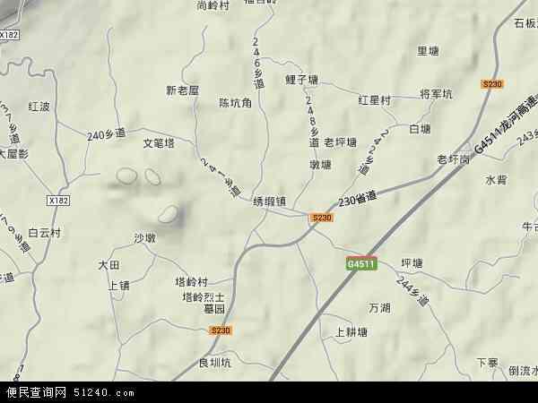 中国广东省河源市连平县绣缎镇地图(卫星地图)