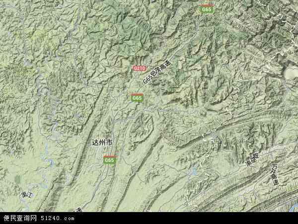 中国四川省达州市宣汉县地图(卫星地图)