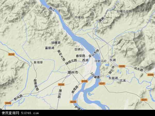 中国广东省潮州市湘桥区地图(卫星地图)