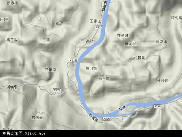 中国陕西省安康市石泉县喜河镇地图(卫星地图)