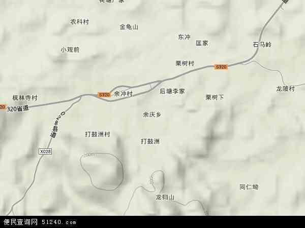 余庆乡地形地图