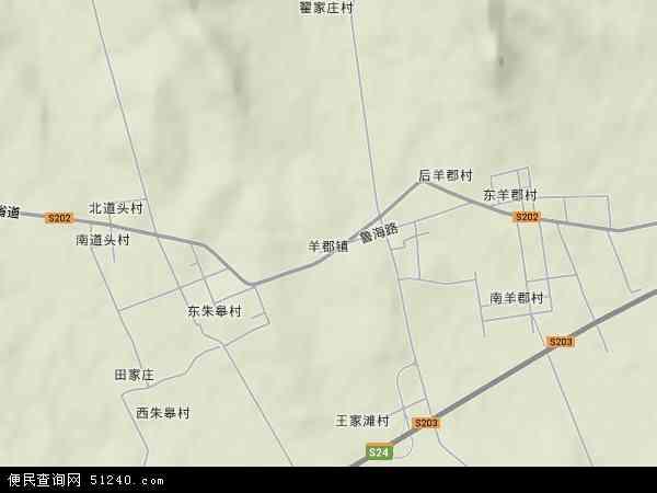 中国山东省烟台市莱阳市羊郡镇地图(卫星地图)