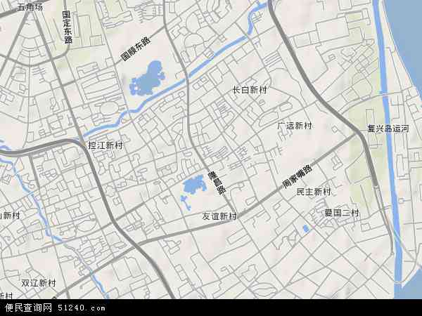 中国上海市杨浦区延吉新村地图(卫星地图)