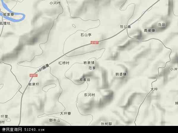 中国湖南省郴州市宜章县岩泉镇地图(卫星地图)