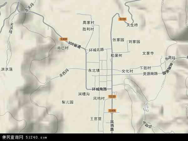 中国云南省丽江市永胜县永北镇地图(卫星地图)