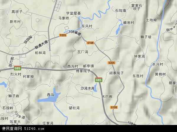 中国重庆市大足区邮亭镇地图(卫星地图)