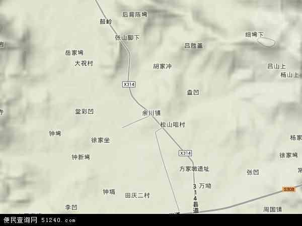 中国湖北省黄冈市武穴市余川镇地图(卫星地图)