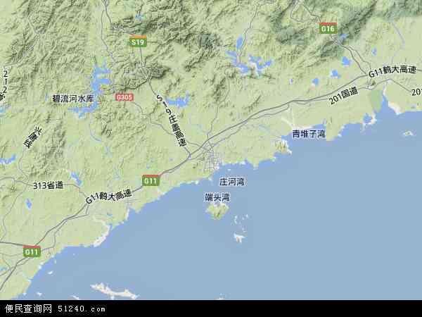 中国辽宁省大连市庄河市地图(卫星地图)