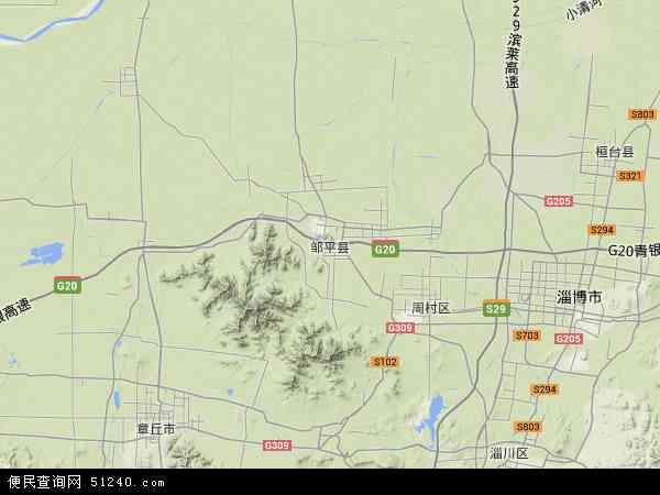 中国山东省滨州市邹平县地图(卫星地图)
