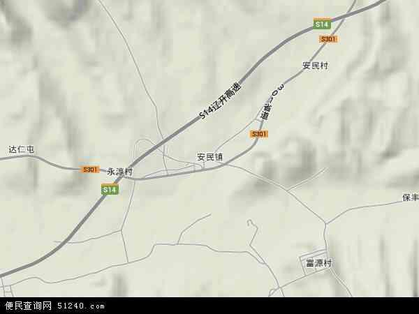 中国辽宁省铁岭市西丰县安民镇地图(卫星地图)