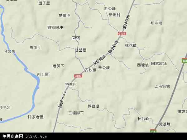 中国湖南省长沙市长沙县安沙镇地图(卫星地图)