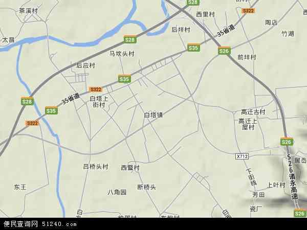 中国浙江省台州市仙居县白塔镇地图(卫星地图)