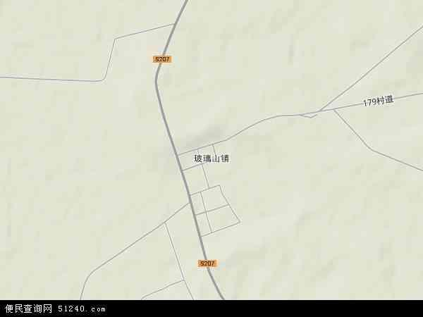 中国吉林省四平市双辽市玻璃山镇地图(卫星地图)