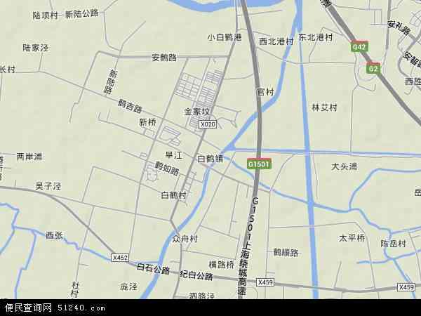 中国上海市青浦区白鹤镇地图(卫星地图)
