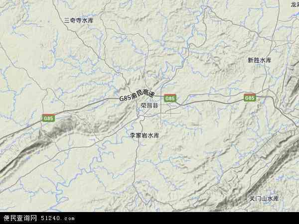 中国重庆市荣昌县昌洲地图(卫星地图)