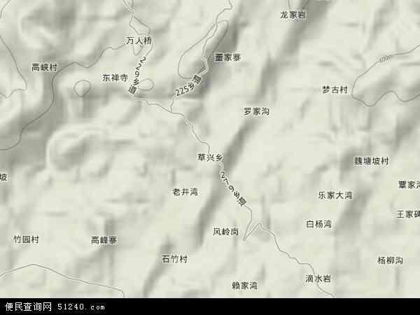 草兴乡2018年卫星地图 中国四川省达州市达川区草兴乡地图