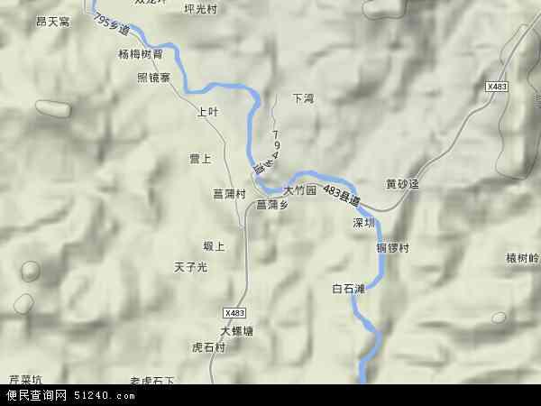 菖蒲乡2017年卫星地图 中国江西省赣州市寻乌县菖蒲乡地图图片