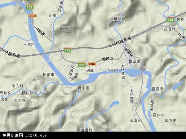 中国浙江省杭州市临安市昌化镇地图(卫星地图)