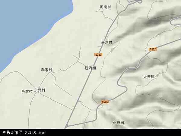 中国云南省丽江市永胜县程海镇地图(卫星地图)