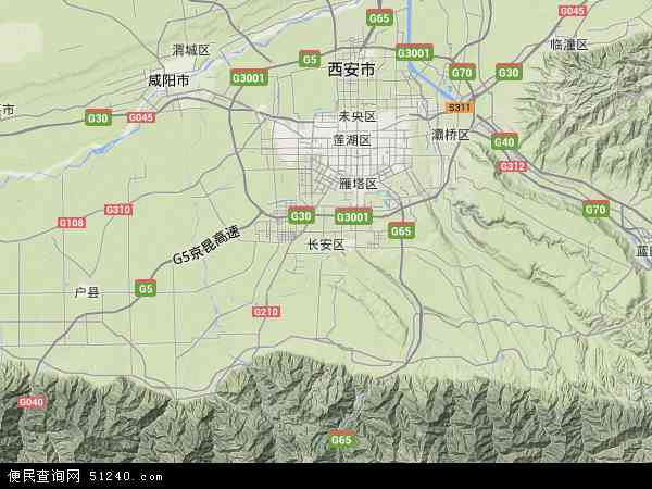 中国陕西省西安市长安区地图(卫星地图)