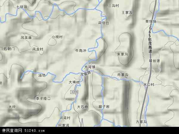 中国重庆市渝北区大湾镇地图(卫星地图)
