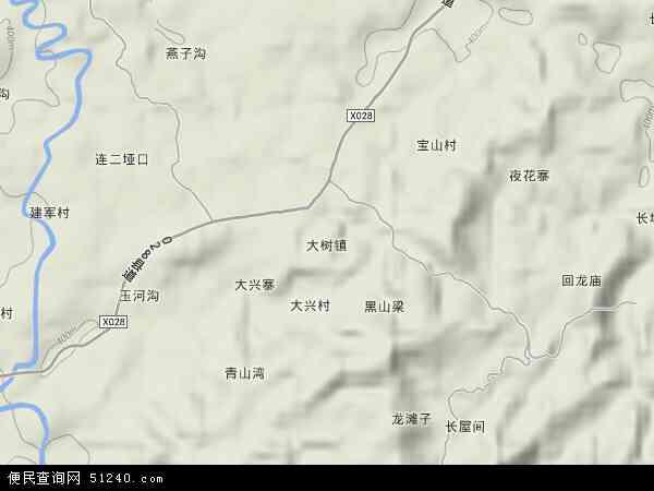 大树镇2018年卫星地图 中国四川省达州市达川区大树镇地图