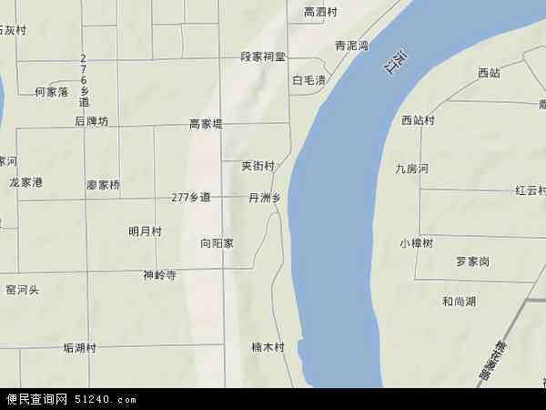 中国湖南省常德市武陵区丹洲乡地图(卫星地图)