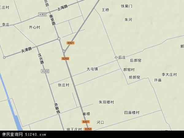 中国江苏省徐州市沛县大屯镇地图(卫星地图)
