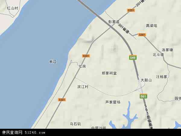 中国湖南省岳阳市云溪区道仁矶镇地图(卫星地图)