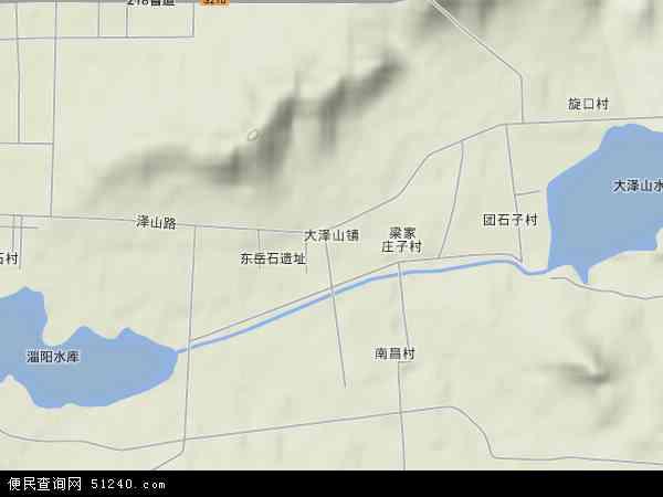 中国山东省青岛市平度市大泽山镇地图(卫星地图)