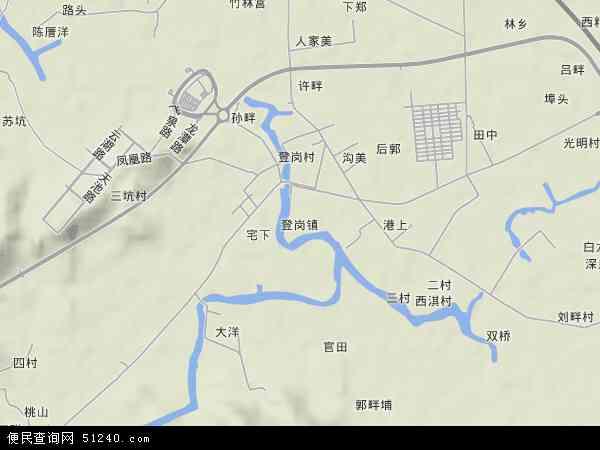 中国广东省揭阳市榕城区登岗镇地图(卫星地图)