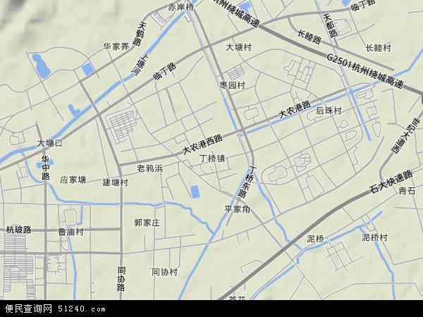 中国浙江省杭州市江干区丁桥镇地图(卫星地图