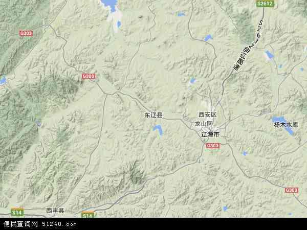 中国吉林省辽源市东辽县地图(卫星地图)