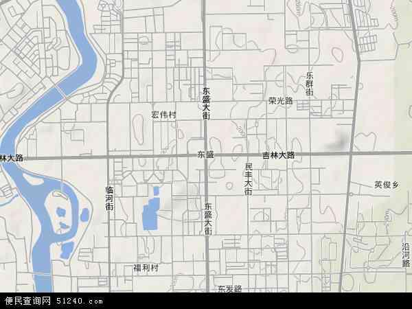 中国吉林省长春市二道区东盛地图(卫星地图)图片