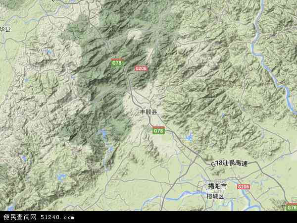 中国广东省梅州市丰顺县地图(卫星地图)