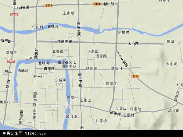 中国安徽省马鞍山市当涂县姑孰镇地图(卫星地图)