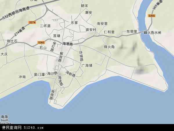 中国广东省江门市台山市广海镇地图(卫星地图)